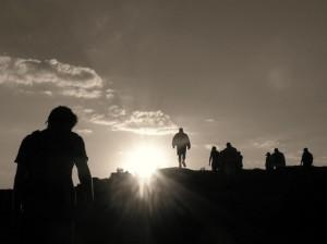 Walking to the peak in the Drakensberg