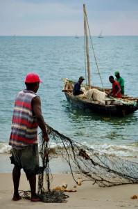 Fishermen Bagamoyo preparing the nets Bagamoyo
